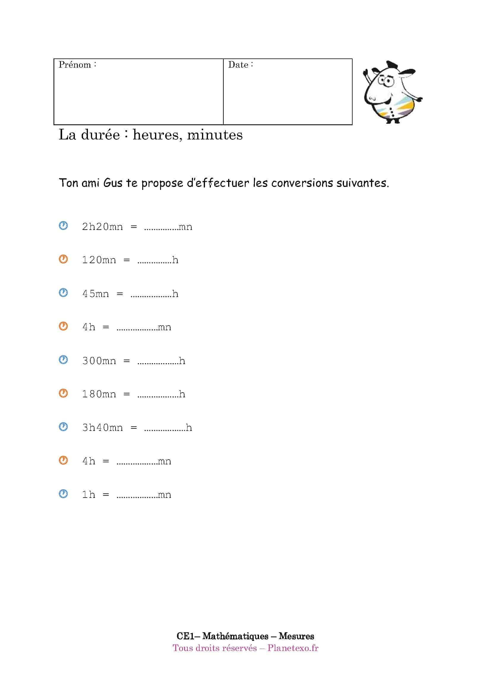 Comment convertir des secondes en minutes - Tables de multiplication ce1 exercices ...